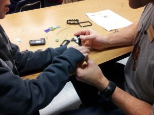 Building the pager parts into a robot.