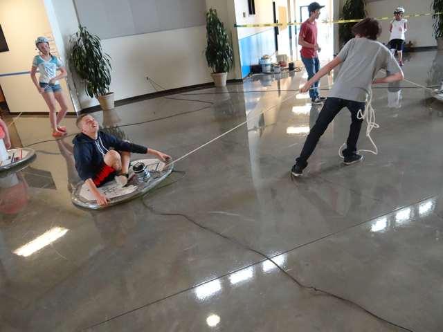 A hovercraft workshop.