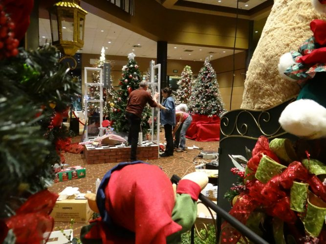 Holiday decorations in the Reuseum.